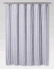 White New BATHOLOGY 101 STRIPE /& DOTS Fabric SHOWER CURTAIN ~ Navy Green