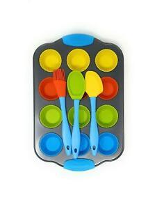 Kids Cupcake Baking Set Non Stick Tray 12 Reusable Silicone Cases 3 Utensils