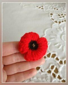 poppy flower, red badge, handmade, knitted, crochet poppy, red poppy