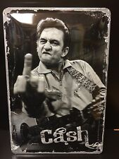 "Johnny Cash ""Finger"" Embossed B&W Metal Sign Guitar Music Wall Decor"