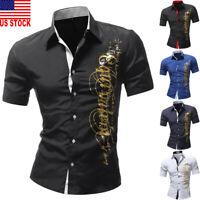 US Luxury New Fashion Men Slim Fit Shirt Short Sleeve Dress Shirts Casual Shirts
