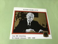Dr Konrad Adenauer Chancellor of West Germany 1967  stamps card  52061
