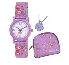 Tikkers Ladies / Girls Flowers Watch Purse and Necklace Set Purple