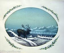 ANIMALS  STAG IN WINTER NIGHT BURNISHED PAPER OVAL PENCIL W/ COL ENG SCH C1830