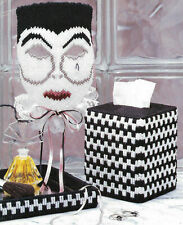 Masquerade Mask, Tissue Box Cover & Tray in plastic canvas PATTERN INSTRUCTIONS