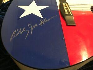 BILLY JOE SHAVER Texas Flag Guitar SIGNED Holograph COA Texas Musicians Museum