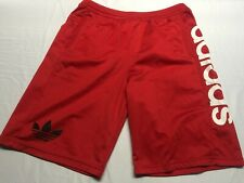 ADIDAS Tre-Foil Logo Embroidered Red Soccer Shorts Mens Size Large