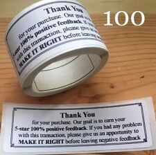 100 Thank You For Your Purchase!!  ENVELOPE/PACKAGE SEALS LABELS STICKERS