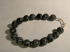 "14K Gold and Snowflake Obsidian Bracelet 8 1/4"" long (2618)"