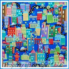 BonEful Fabric FQ Cotton Quilt Blue Red VTG Baby Boy Decor City Scenic Car Truck