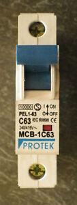 PROTEK MCB-1C63 C63 63A MCB SINGLE POLE PEL1-63 TYPE C CIRCUIT BREAKER 240V