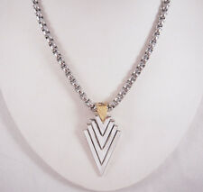 Han Cholo Brass 2-Tone Plated Brass Arrowhead Pendant Necklace 26""