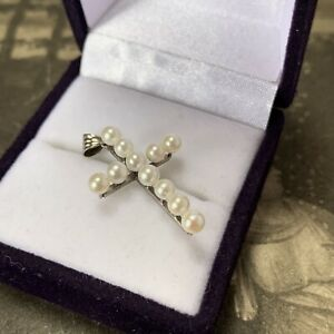 Vintage 14K White Gold Pearl Cross 14ct Cultured Akoya Pendant for Necklace