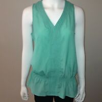 The Limited Tank Top Size M Medium Womens Sleeveless V Neck Blouse Green Cinched