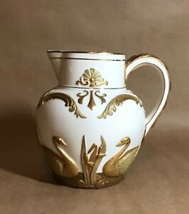 Antique Unmarked American Belleek Ott Brewer Pitcher Embossed Hand Painted Swans