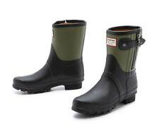 Hunter Limited Edition Rag & Bone Black-Green Zipper Rubber Rain Boots US7 EU38