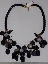 Anthropologie Lele Sadoughi Jet Black Crystal Lily Necklace-$280 MSRP