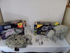 Star Wars POTF2 Electronic AT-AT Walker & Millennium Falcon Loose w/Box Complete