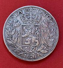 Pièce de collection Argent Silver 5 francs 1870 Léopold II Roi des Belges KM#24