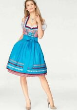 Country Line Dirndl Midi with Glitter Stones Red - Blue New 34