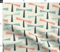 Sea Lighthouse Nautical Ocean Pink Blue Pastel Spoonflower Fabric by the Yard