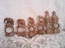 Vintage 1970s Wooden Hand Carved Elephant & Bird Napkin Rings or Decorations GUC