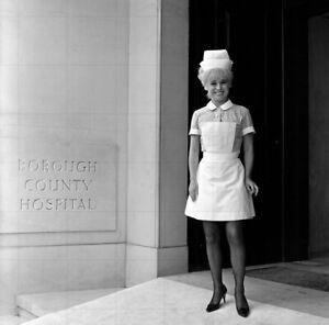 "BARBARA WINDSOR as 'Nurse Sandra May' 8"" x 8"" b/w Photo CARRY ON DOCTOR 1968"