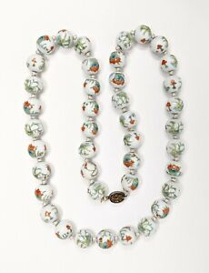 Antique Chinese Enamel Porcelain Bead Necklace Vintage, Hand Painted Floral 30""