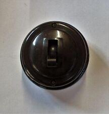 EFE Retro Vintage Brown Bakelite 10/15Amp Ceramic Base Round Light Switch Used