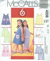 McCall's 4006 Girls' Dresses, Tops and Pants 6, 7, 8   Sewing Pattern