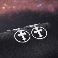 Womens 925 Sterling Silver Holy Cross Drop Dangle Pierced Earrings #E140