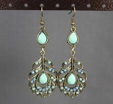 metal feather earrings Aqua Blue beaded pendant dangle antiqued gold tone