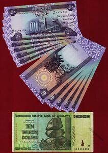10 Trillion Zimbabwe Dollars AA 2008 + 10 x 50 Iraq Dinar Banknotes Iraqi IQD