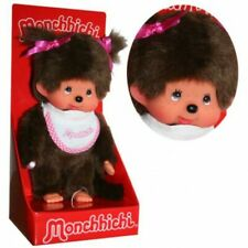 Mädchen mit Zöpfen   20 cm   Monchhichi Puppe   2 Zöpfe und Lätzchen