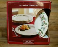 "SET OF 4 - ST NICHOLAS SQUARE - HOLLY BERRY - 11 3/8"" DINNER PLATES - IN BOX"