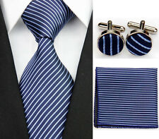 Necktie Men's New Navy Blue Striped Tie Cufflinks Hanky Handkerchief Set FC110