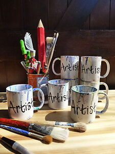 Hand painted & glazed Artists Art Painters mug cup NEW