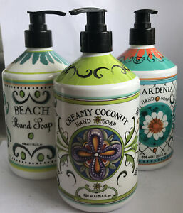 Deruta La Tasse Italian Hand Soap Pack 3 Coconut Gardenia Beach 21.5 OZ NEW