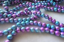 50 Blue/Mauve 8mm Drawbench Beads #g3567 Combine Postage-See Listing