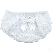 Frilly Bow Knickers Pants Baby Girl Spanish Nappy Cover Tutu Lace Christening 12 Month White Organza Frill