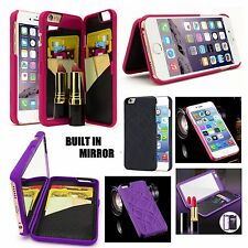 For iPhone 7 - Hidden Built-in Mirror Wallet Case Cover w/ Stand + Card Holders
