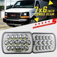 "Pair 7x6"" 5x7 LED Headlight 150W Hi/Low Beam DRL For GMC Savana 1500 2500 3500"