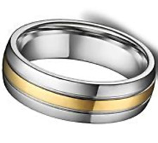 USA SELLER 102 - 6MM  Titanium Silver Gold Ring Mens Stainless Band Size 11