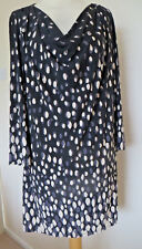 WEST DESIGNER LONG SLEEVE TUNIC TOP COWL NECK SIZE 12 BLACK CREAM & GREY NWT