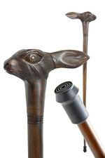 HARE wooden walking stick - RABBIT cane - carved - with FERRULE - BOXED item