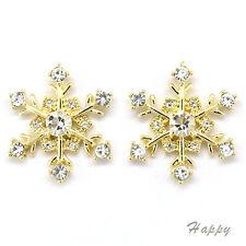 Snowflake Winter Christmas Wedding Stud Earrings Costume Jewel Crystal Clear 530