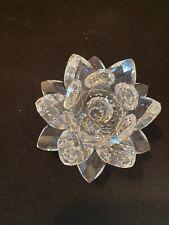 Vintage Swarovski Crystal Small Lotus Flower Bloom Candle Holder Figurine As Is
