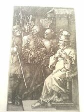 Albrecht Durer 3x4.5 1512 plate signed B.6  engraving Christ before caiaphas