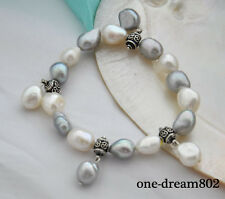 "Stretch  8"" 14mm baroque white gray pearl silver bracelet"