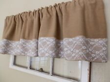 """WHITE LACE & BURLAP! Soft Burlap Valance with 6"""" Lace Trim Handcrafted  by Nana"""